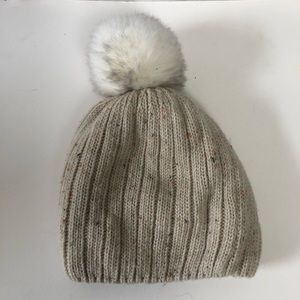 Women's Winter Hat with Fleece Interior and Pom